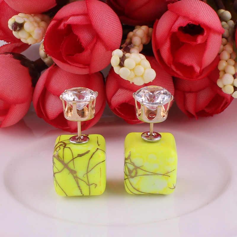 11 ألوان جديدة تصميم فاخر مزدوجة الجانبين أقراط البوهيمي الهندسية نحى الذهب لون تاج الأقراط الكريستال للنساء
