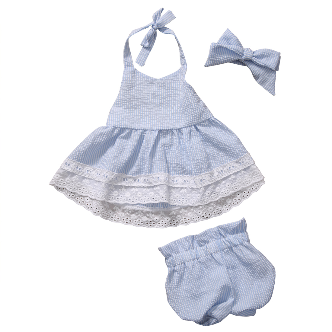 2pcs Newborn Baby Girls Bowknot Clothes 2017 Summer Striped Vest Tops + Bottoms Outfit Bebek Giyim Toddler Kids Clothing Set girls tops cute pants outfit clothes newborn kids baby girl clothing sets summer off shoulder striped short sleeve 1 6t