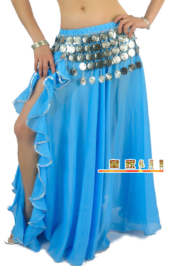 Lady Belly Dance Clothes Baru Leafroll Double Slit Dancing Skirt Chiffon Belly Dancing Skirt Women Belly Dance Costumes B-6852