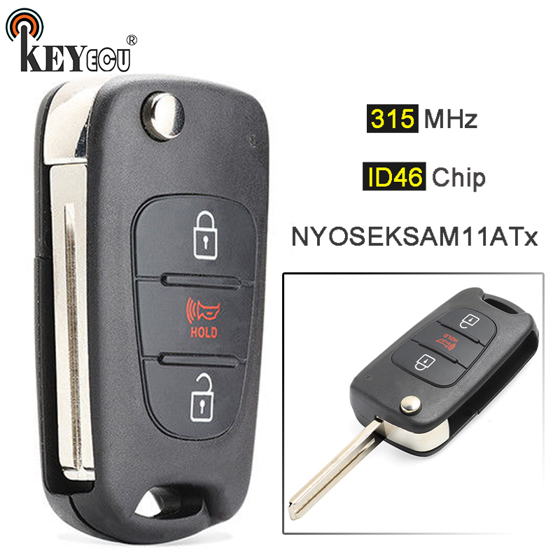 KEYECU 315MHz ID46 Chip FCC: NYOSEKSAM11ATx Replacement Flip 2+1 4 Button Remote <font><b>Key</b></font> Fob for <font><b>Kia</b></font> <font><b>Sportage</b></font> 2010 <font><b>2011</b></font> 2012 2013 image