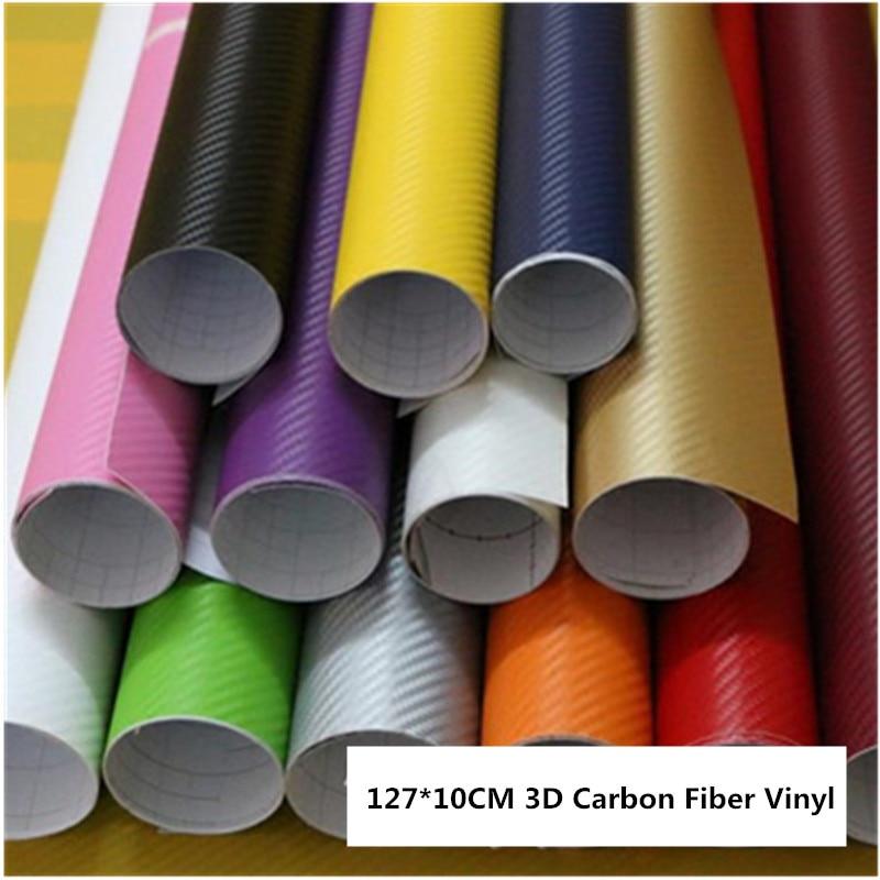10x127cm Car Body Film 3D Carbon Fiber Vinyl Car Wrap Sheet Roll Car Motorcycle Body Interior Stickers Decal Styling Accessories