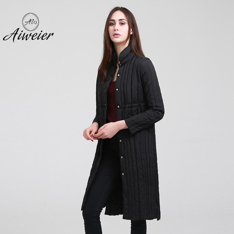 [Aiweier]Women's Down Jacket Long Down Coats Women Parkas Single Breasted Thin Korea Style Winter Warm Jackets For Ladies AL1201 цена