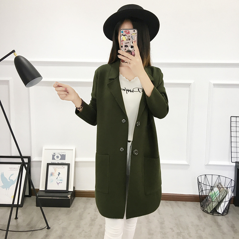 Lady Pullover Korean Winterjacken Office Chested Langermel Single Tops Strickjacke Lange Blaugraugr Style Damen hCrxQstd