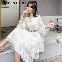 New Woman dress white hollow out V neck lantern sleeve spring causal mid calf cake dresses female show thin