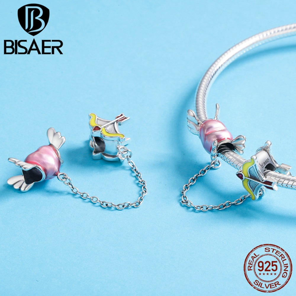 BISAER Genuine 925 Sterling Silver Cupid Heart and Arrow Love Charm Beads for Women Original Charm Bracelet Jewlery GXC628