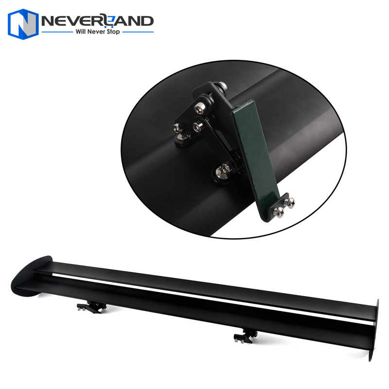 43'' Black Universal Double Deck Hatchback Car GT Rear Wing Racing Spoiler Lightweight Aluminum Drilling Hole Clamp Type