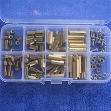 120Pcs/M3 PCB Threaded Female Brass Standoff Spacer Board Hex Screws Nut Assortment Box kit set все цены