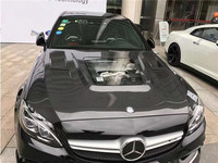 NEW Carbon Fiber Front Bumper Engine Hood Vent Cover For Benz C Class W205 C63 AMG Coupe 2015 2016 2017 2018 Clear Glass