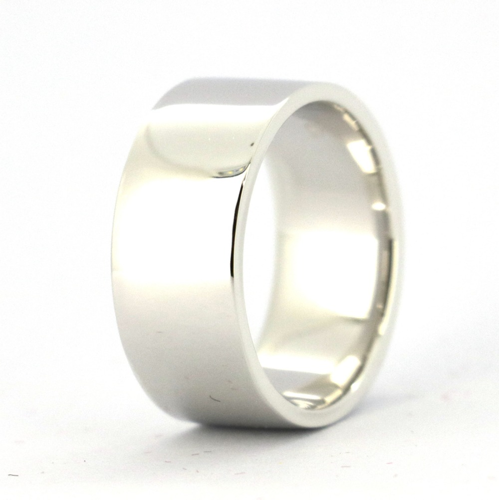 Wellmade 9mm Solid 925 Sterling Silver Plain Band Ring 1pc polished brushed 9mm wide band ring 100