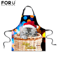 Merry Christmas Gifts Funny Aprons For Women Men Chef Waiter Kitchen Apron Cotton Cute Cat PullDog