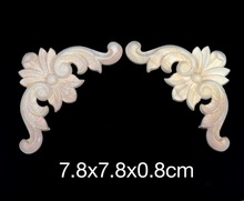 7.8x7.8x0.8cm Wood carving trim angle flowers flower applique Decal European style solid wood furniture cabinets decorative dongyang wood carving applique motif wood shavings corner flower fashion solid wood furniture smd background wall ceiling home