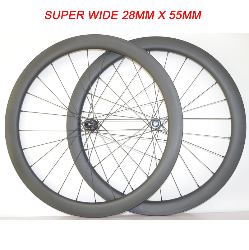 SUPER WIDE 28MM X 55MM 700C CENTER LOCK 1265G CARBON ROAD DISC CX TUBULAR CLINCHER TUBELESS BICYCLE WHEELS XDR 12 speed