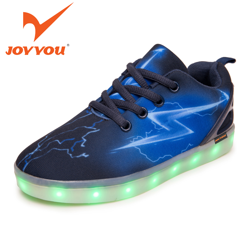 JOYYOU Brand Boys Girls Luminous Sneakers USB Charging Teenage Led Kids Shoes With Light Up Led Tenis Infantil School Footwear 25 40 size usb charging basket led children shoes with light up kids casual boys
