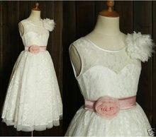 Новое поступление платья для девочек с цветочным принтом поясом