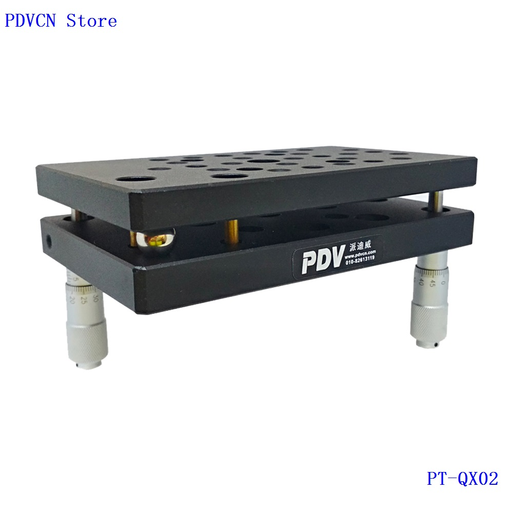 PT QX02 Two Axis Manual Tilt Stage, High Load Tilt Platform, Precise Manual Tilt Stage, Tilt Range: +/ 5 degree
