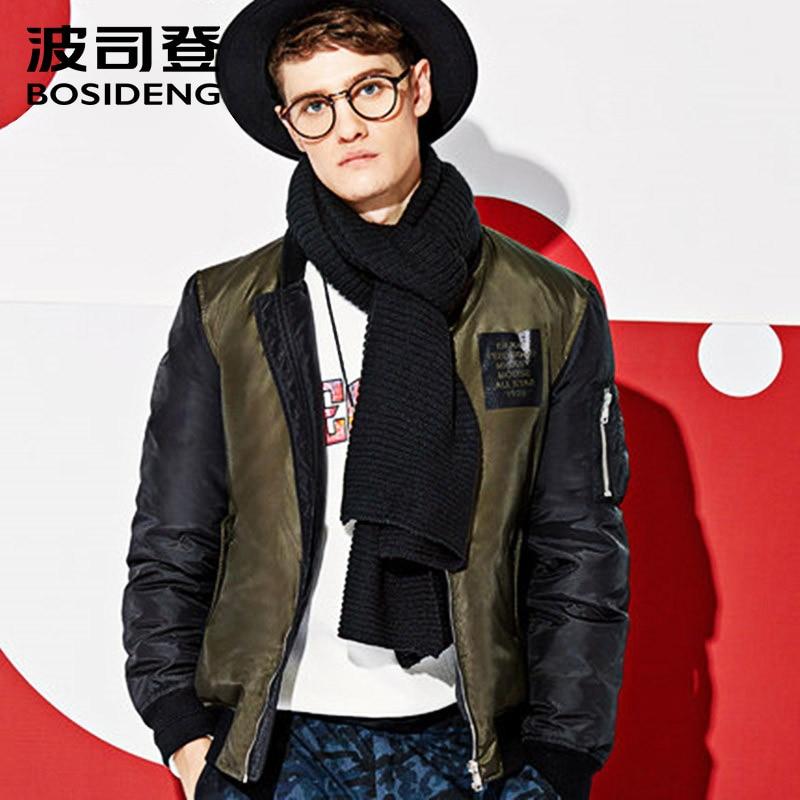 BOSIDENG new men winter duck down jacket British style male down coat high quality back print Appliques fashion B1601117