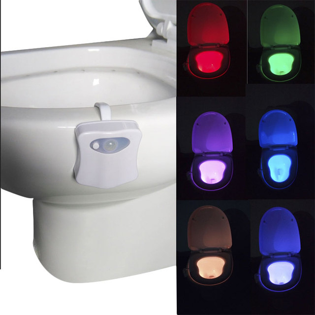 8 colore Motion Activated LED Tavolette copriwater Sensibile Alla Luce Automatic