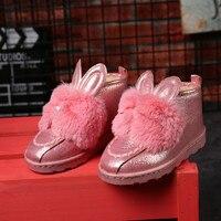 Dwayne New Product Rabbit Pure Color Children Snow Boots Warm Boots Waterproof
