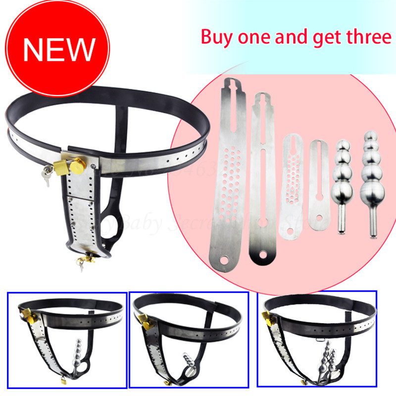 Female Chastity Belt,Stainless Steel Chain Chastity Device Beads Vagina Anal Plug Masturbation Fetish Bdsm Sex Toys For Women newest beads anal plug chastity belt
