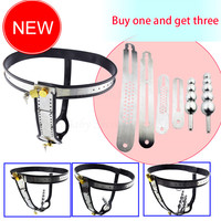 Female Chastity Belt,Stainless Steel Chain Chastity Device Beads Vagina Anal Plug Masturbation Fetish Bdsm Sex Toys For Women