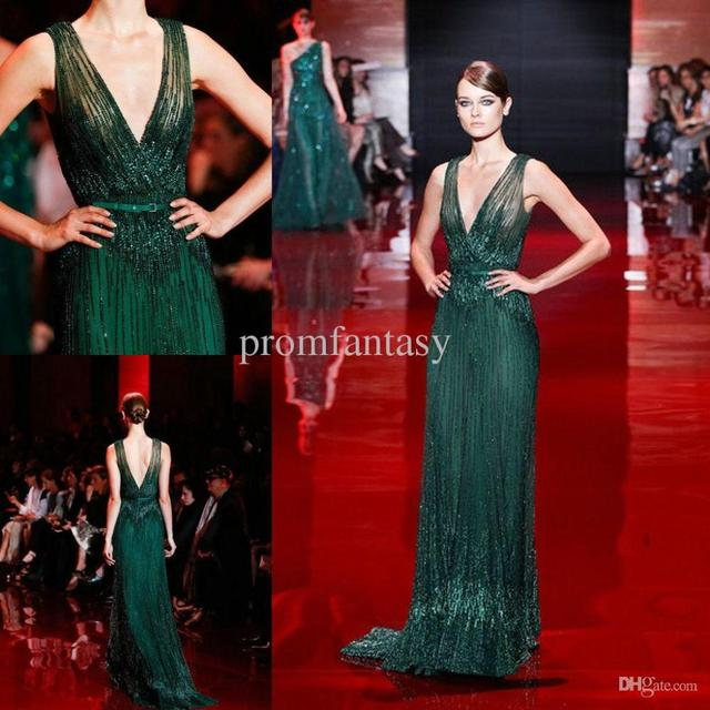 609334cc 2015 Elie Saab Dark Green Luxury Shimmering Beaded Evening Dresses V-Neck  Sheer Tulle Sweep Train Runway Fashion Formal Party Go