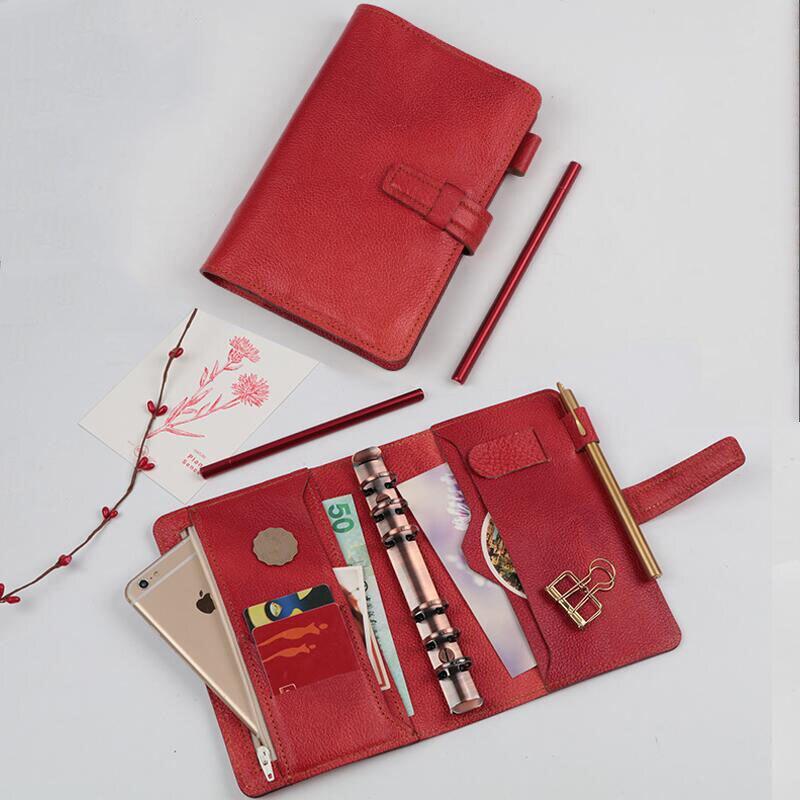 Carnet de croquis à feuilles mobiles carnet de notes Vintage en cuir véritable a5 a6 bloc-notes multifonctions bloc-notes agenda scolaire