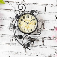 European Retro Metal Tree Bird Wall Clock Home Decorative Antique Clock Vintage Wall Mount Clock Scrollwork