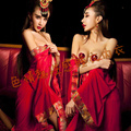 Ms. Xia sexy transparent robe red shirt bride all-match cover pajamas gown gauze cloak fat MM