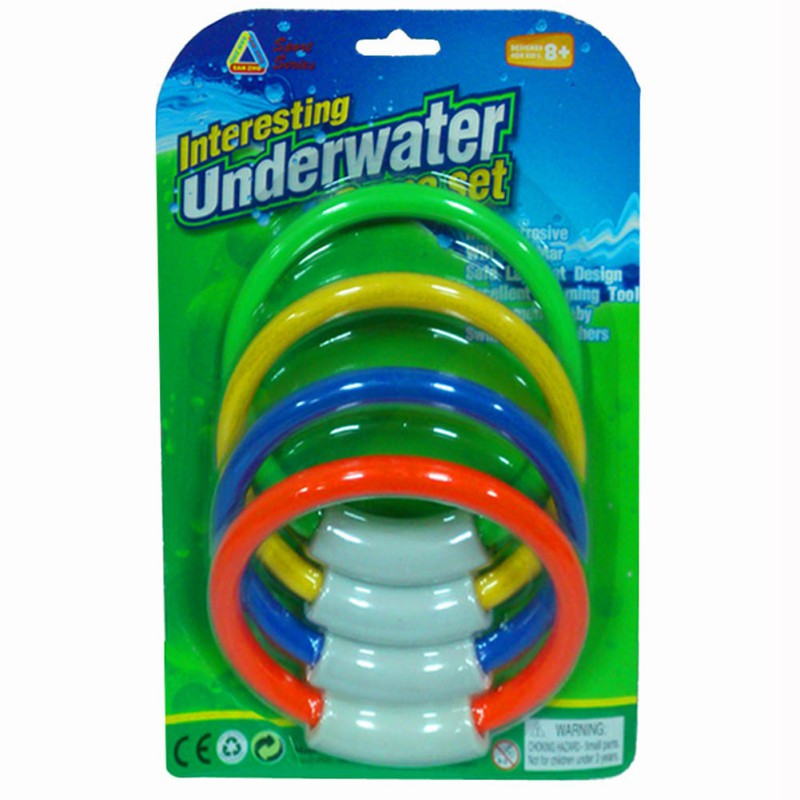 Kid Underwater Diving Ring Water Toys Swimming Pool Accessories Diving Buoys Four Loaded Throwing Toys 4 Pcs/Pack