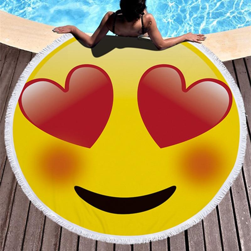 Nette Emoji Runde Große Strand Handtuch Mikrofaser Erwachsene Quaste 150 cm Durchmesser Weichen Strand Decke Handtuch Matte Serviette De Plage ronde