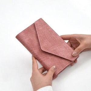 Image 1 - Блокнот Yiwi из искусственной кожи с 3 складками, стильный Органайзер хобо из искусственной кожи с крокодиловым узором, розовый, черный, красный, 17x12 см, A6