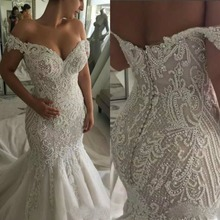 NCDIMS Sexy Long Mermaid Wedding Dress Off Shoulder