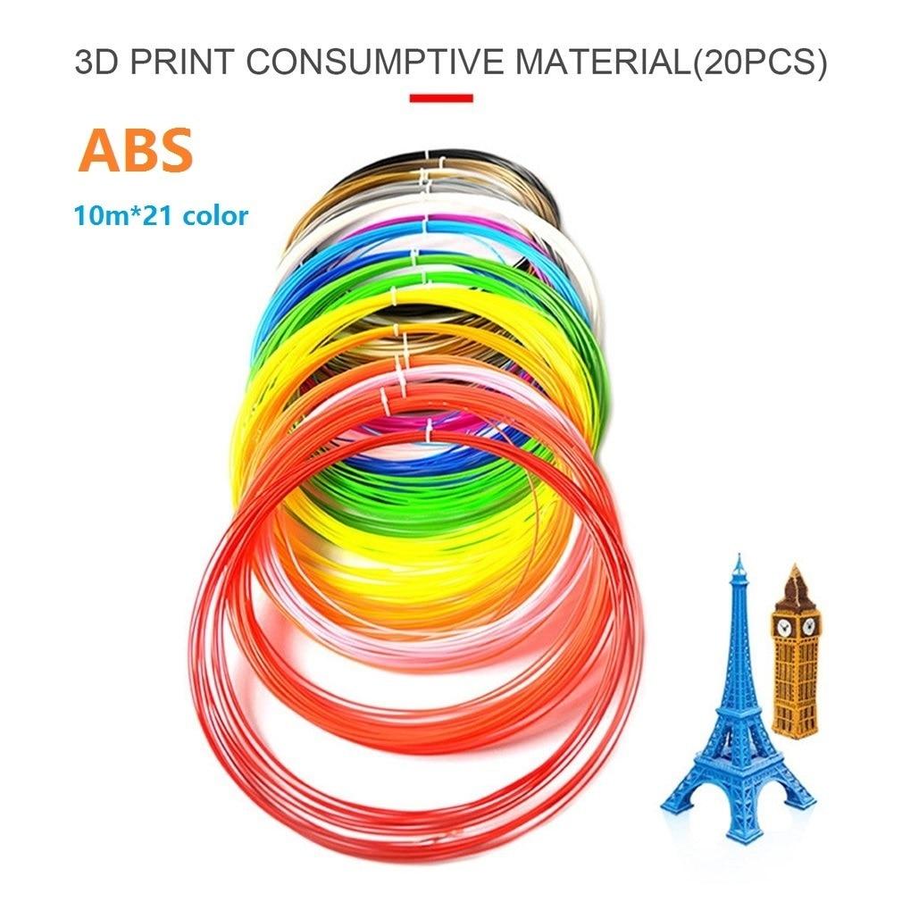 20 10 Color/set 3D Printer Pen Filament PLA/ABS/PCL 1.75mm 5/10m Plastic Rubber Printing Material for 3 D Printing Pen Drawing 1 75mm pla 3d printer filament printing refills 10m
