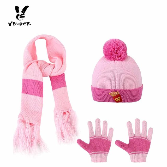 bd02383ab7911 Vbiger 3pcs Cartoon Kids Winter Knitted Scarf Gloves Hat Sets Children  Knitting Wool Beanies Cap Gloves for Boys Girls