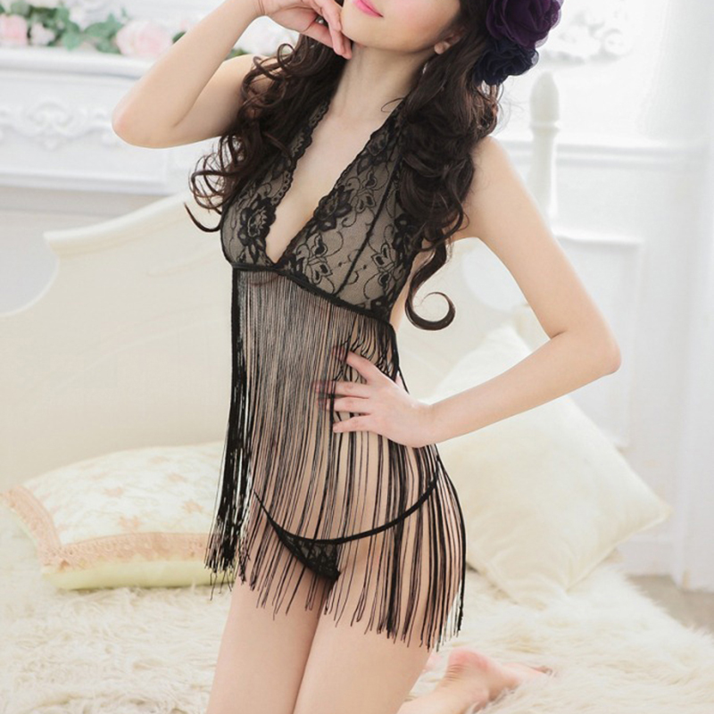 Women Sexy Lingerie Tassel Erotic Lingerie Costumes Underwear Ladies Nightwear Lenceria Nuisette