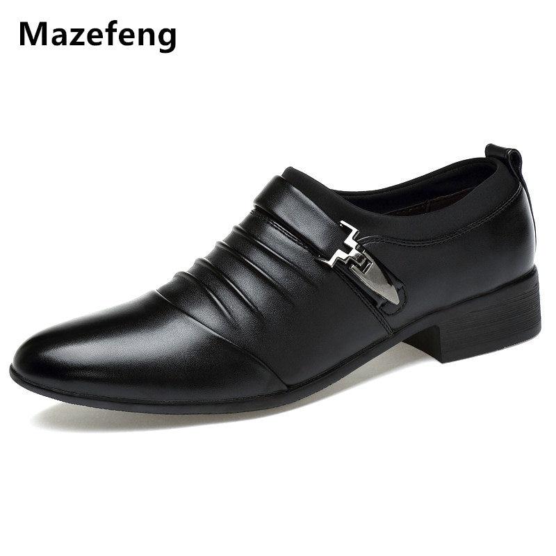 Mazefeng England Style Men Dress Shoes Buckle Strap Business Shoes Flats Breathable Men Wedding shoes Men Formal Footwear