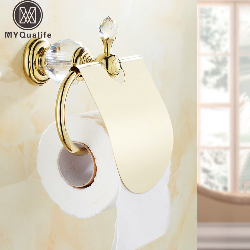 Wholesale And Retail Polished Golden Wall Mount Toilet Paper Holder Fashion Roll Paper Rack W/ Cover Free Shipping luxury golden color toilet paper holder wall mounted roll toilet paper rack with cover bathroom accessories free shipping 3308