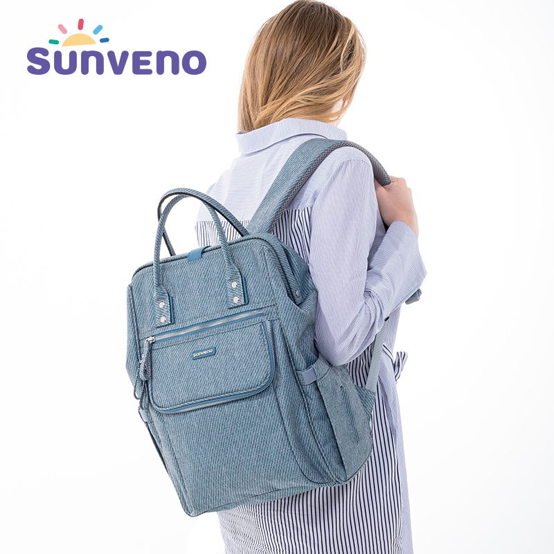 купить Sunveno 2018 New Diaper Bag Backpack Large Capacity Waterproof Nappy Bag Kits Mummy Maternity Travel Backpack Nursing Handbag недорого