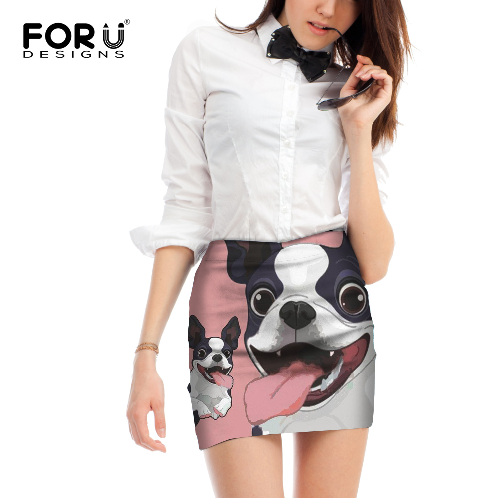 Forudesigns Fashion Women Summer Sexy Mini Skirts Cute 3d Cartoon Dog Bulldog Print Female Short Pencil Skirt For Office Ol Lady