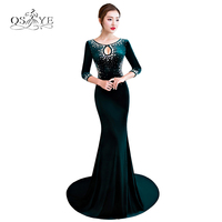 Dark Green Velvet Mermaid Formal Evening Dresses Long Party Dress Crystal O Neck 3 4 Sleeves