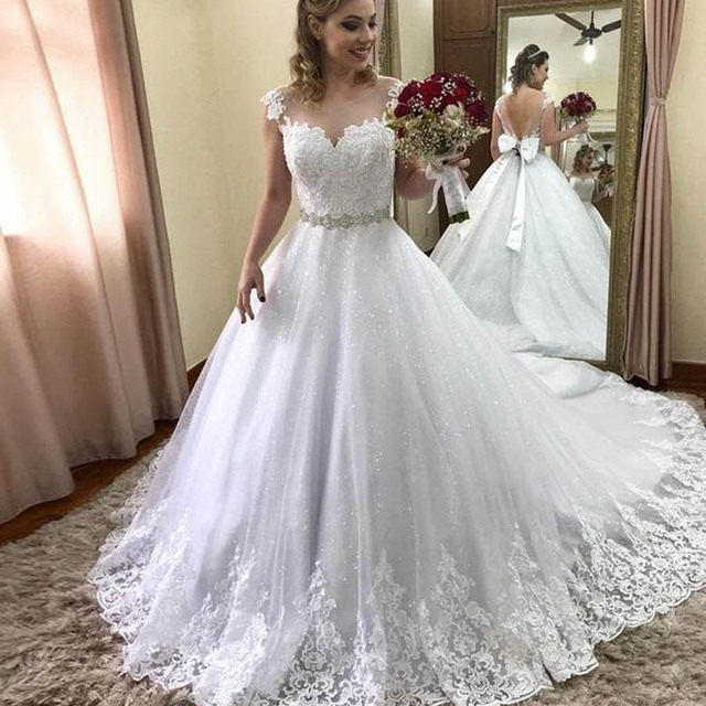 Lover Kiss Vestido De Noiva Stunning Sequined Lace Wedding Dress Cap Sleeves Beaded Sash with Bow Bridal Gowns Plus robe mariee