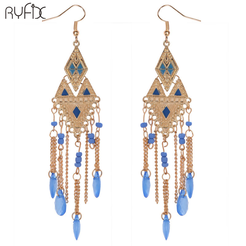 Bohemian Fringe beaded Tassel Earring For Women Dangle Rhombus Long Drop Earrings Party jewelery RS88