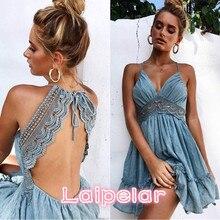 купить Sexy Crochet Lace Backless V Neck Summer Dress Women Strap Sleeveless Hollow Out Short Dress Casual Beach Party Dresses Vestidos по цене 731.26 рублей