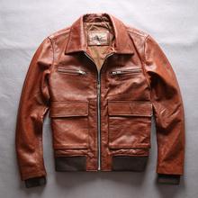 Men s Genuine leather jacket Cowhide Flight suit Big pocket lapel short slim fit Motorcycle clothing