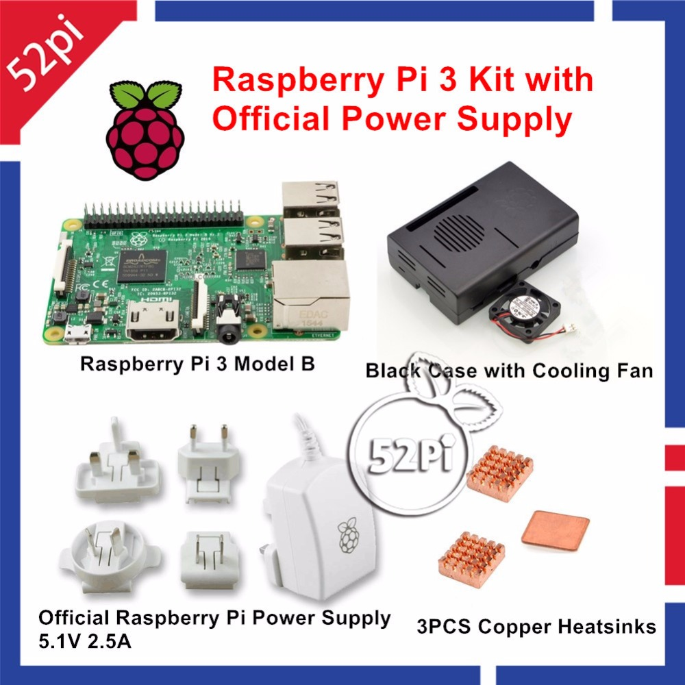 Raspberry Pi 3 Model B Kit with Official 5.1V 2.5A Power Supply AU/US/EU/UK Plug + ABS Case with Cooling Fan + Cooper Heatsinks abs case with cooling fan heatsink removable top cover