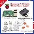 Raspberry Pi 3 Modelo B Kit com Oficial 5.1 V 2.5A Poder fornecimento AU/EUA/UE/UK Plug + ABS Caso com Ventilador de Arrefecimento + Cooper dissipadores de calor