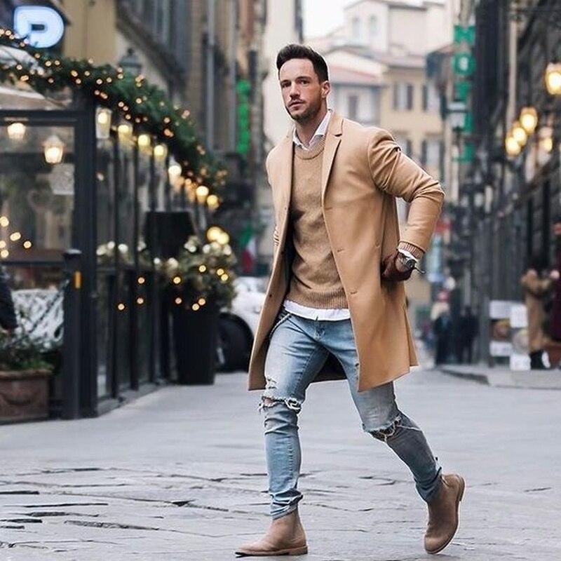 ZOGAA мужской длинный Тренч мужской модный элегантный однотонный воротник с отворотом длинный рукав Свободное пальто куртка длинный Тренч 2019 Новый