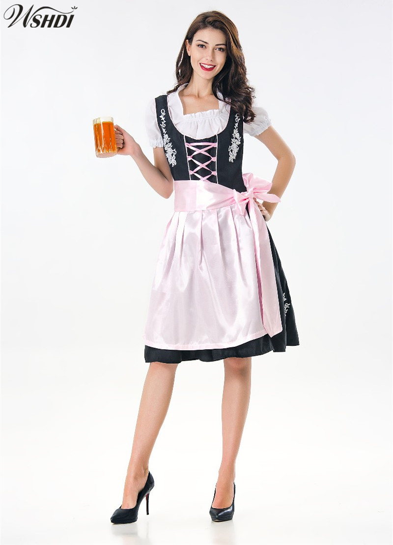 Adult Women Oktoberfest Costume Beer Festival October Dirndl Maid Peasant Skirt Dress Apron Blouse Gown German Wench Fancy Dress