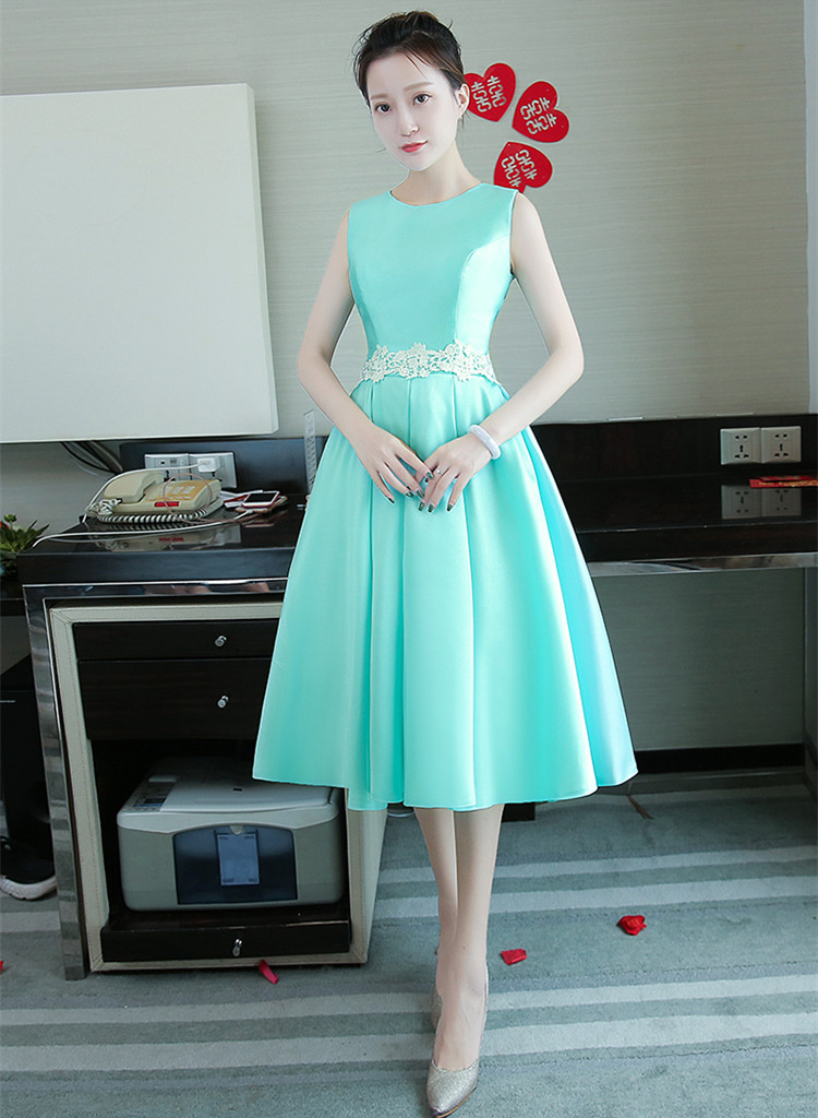 f69801681b Cheap New Turquoise Bridesmaid Dress Tea-length Satin Sleeveless White Lace  Waist Elegant Prom Party Formal Gown Robe De Soriee