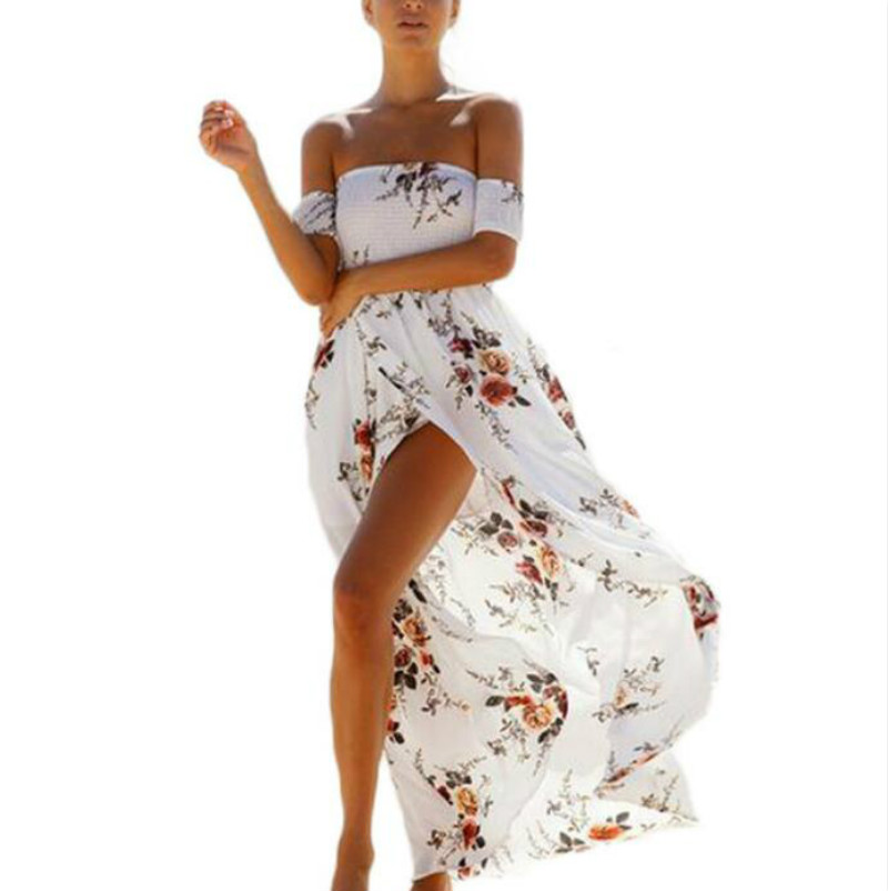 С открытыми плечами длинные пляжное платье летнее платье с короткими рукавами шифон Принт с цветком Винтаж белый Сарафан Макси без бретеле...